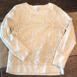 J. Crew cream lace sweatshirt